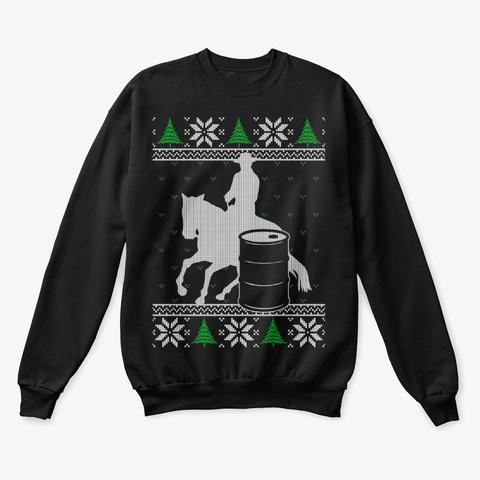 Barrel Racing Ugly Christmas Sweater Black T-Shirt Front