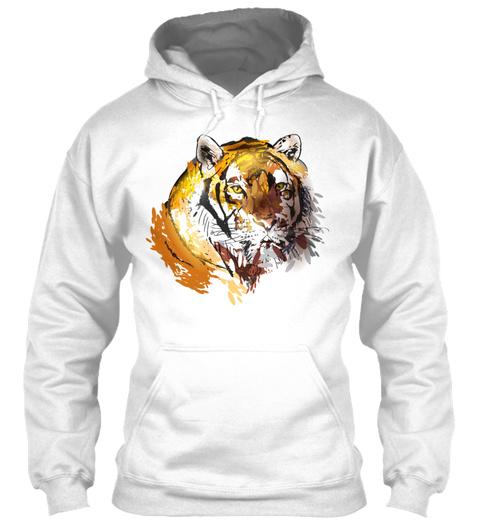 Colorfuli Llustration Head Tiger White T-Shirt Front