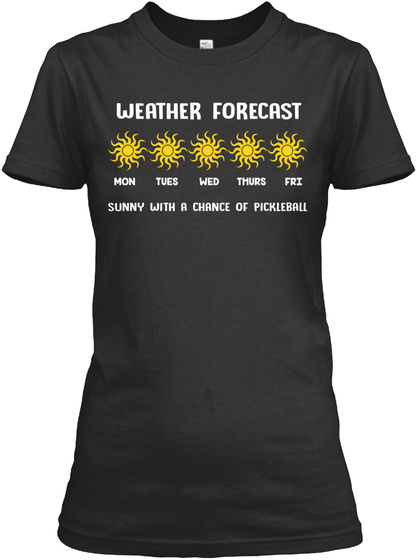 Weather Forecast Black T-Shirt Front