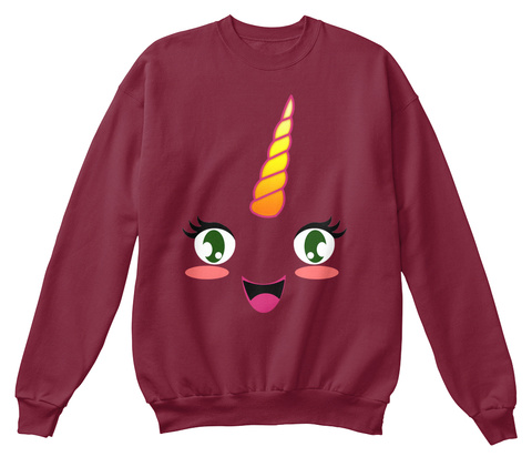 Hoodie Licorne   Unicorn Kawaii Burgundy Sweatshirt Front