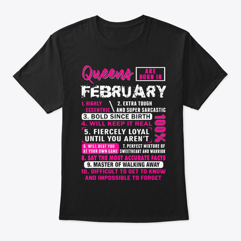 Queens Are Born In February Shirt Black T-Shirt Front