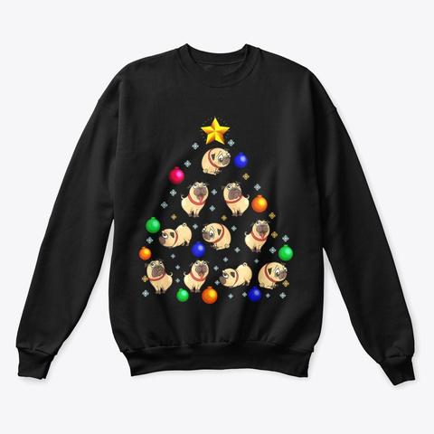 Pug Dog Christmas Tree T Shirt Black T-Shirt Front