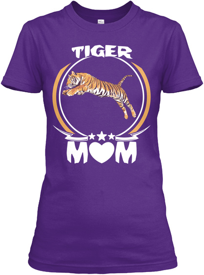 Tiger Mom Shirt Cute Mothers Day Gift Purple T-Shirt Front
