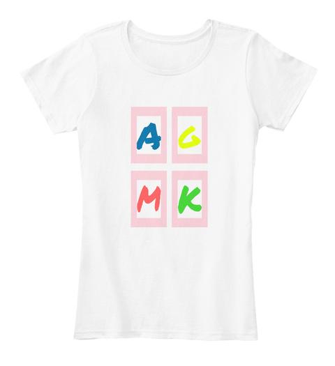 A G K M  White T-Shirt Front