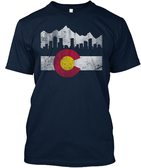 State Of Colorado Flag Skyline New Navy T-Shirt Front
