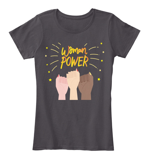 Woman Power Heathered Charcoal  T-Shirt Front