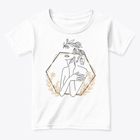 Line Art Female Body And Golden Leaves White  T-Shirt Front