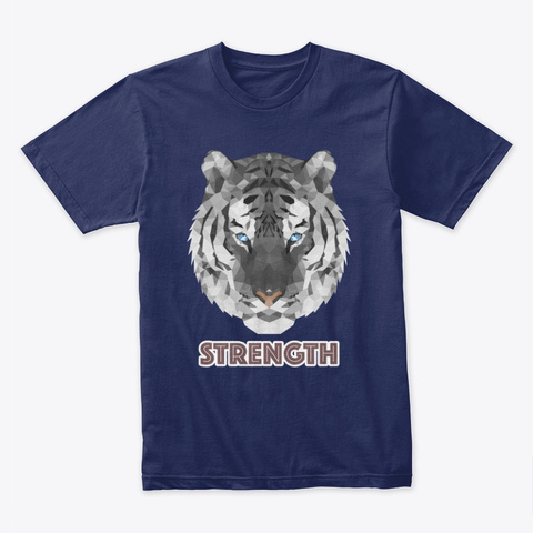 Polygon Art   White Tiger Midnight Navy T-Shirt Front