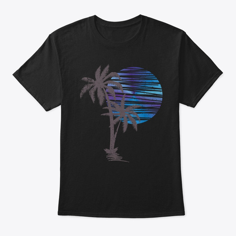 Palm Tree Sunset Silhouette Surfing Hone Black T-Shirt Front