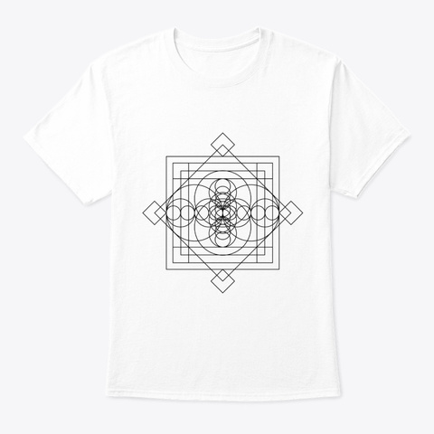 Sacred Geometry Sri Sacred Black White T-Shirt Front