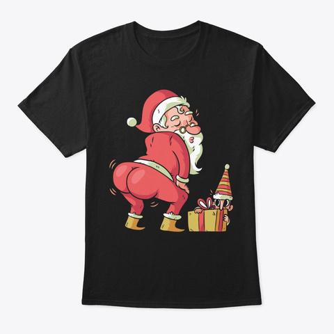 Santa Twerk Christmas Dance Black T-Shirt Front