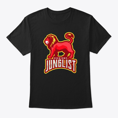 Junglist Drum And Bass Everyday Lion Dn B Black T-Shirt Front