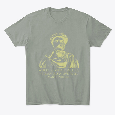 Philosophy Quote Stoic Sayings Marcus Grey T-Shirt Front