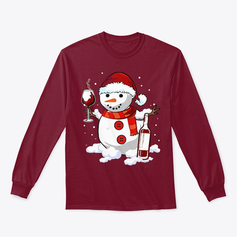 Christmas Shirt Drinking Wine Lover Xmas Cardinal Red T-Shirt Front