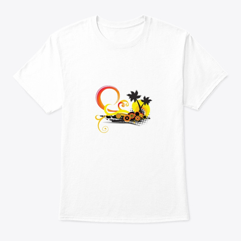 Yellow Palm Sun Holiday Nice  White T-Shirt Front