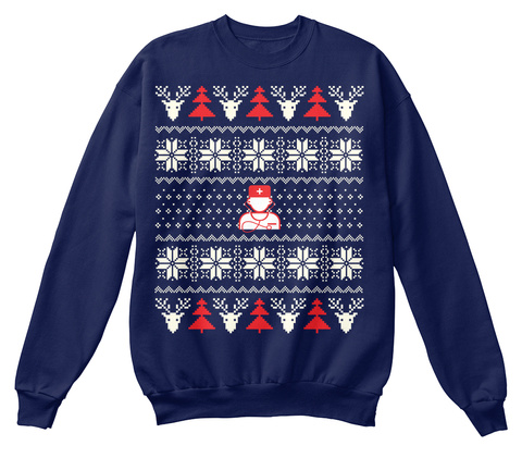 Nurse Ugly Christmas Sweater Navy  T-Shirt Front